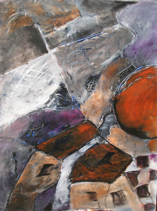 NOCTURNE ORANGE - Painting,  57x47 cm ©2009 by mireille matricon -                        Paper
