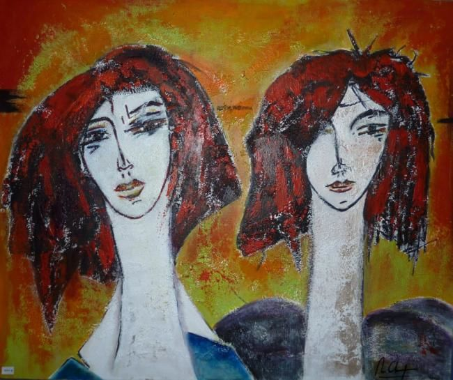 Touristes - Painting,  23.6x31.5 in, ©2012 by Mireille GRATIER DE SAINT LOUIS -                                                                                                                                                                                                                                                                                                                                                                                  rouge, jaune, orange, gris, bleu, technique mixte, matière, acrylique