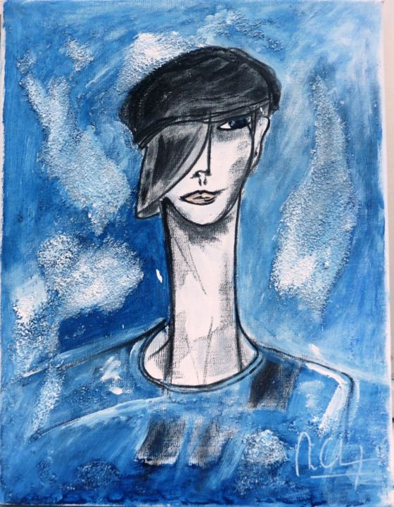 portrait-iim-35x27cm.jpg - Painting,  13.8x10.6 in, ©2013 by Mireille GRATIER DE SAINT LOUIS -