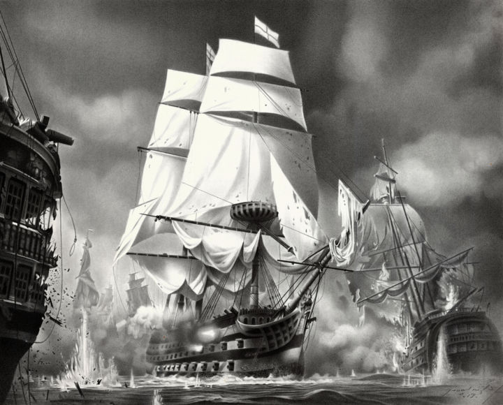 TRAFALGAR - Drawing,  18.1x22.8 in, ©2019 by Miro Gradinšćak -                                                                                                                                                                                                                                                                                                                                                                                                                                                                                                                                                                                                                                                                                                                                                                                                                                                                                                                                                                                                                                                                                              Hyperrealism, hyperrealism-612, Black and White, Boat, History, Sailboat, Ships, historic, battle, naval battle, sailing ship, cannon, napoleon, admiral Nelson, HMS Victory, napoleonic wars, navy, warfare, trafalgar, smoke, british, french, clouds