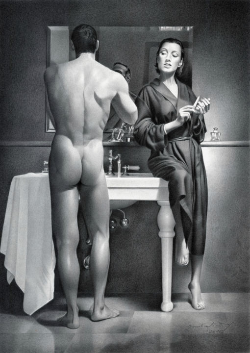 SHAVING - Drawing,  20.9x15 in, ©2016 by Miro Gradinšćak -                                                                                                                                                                                                                                                                                                                                                                                                                                                                                                                                                                                                                                                                                                                                                                                                                                                                                                                                                                                                                                                                                                                                          Hyperrealism, hyperrealism-612, Black and White, Body, Erotic, Interiors, Men, naked, nudes, nudity, bathroom, gay, girl, figure, man, female, muscle, woman, shaving, nails, male ass, butt, naked man, sexy