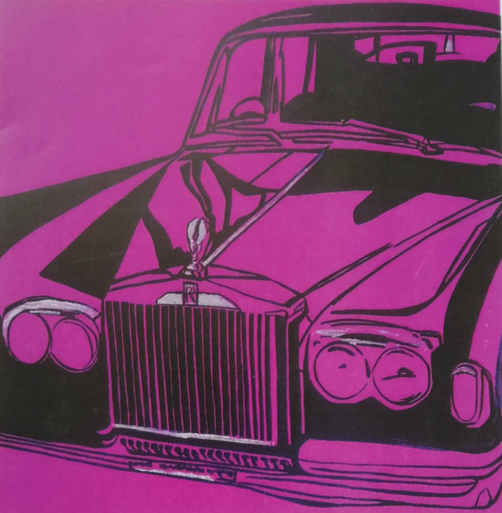 Pink Rolls Royce - Painting,  100x100x3 cm ©2012 by Mirou Navalon -                                                        Contemporary painting, Pop Art, Car, rolls royce, voitue, pop art