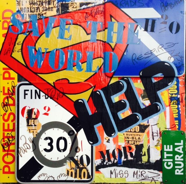 """ HELP "" - Painting,  48x48 in, ©2016 by miss mirza -                                                                                                                                                                                                                                                                                                              Street Art, street-art-624, STREET ART, POP ART, STREET POP ART, ART URBAIN"