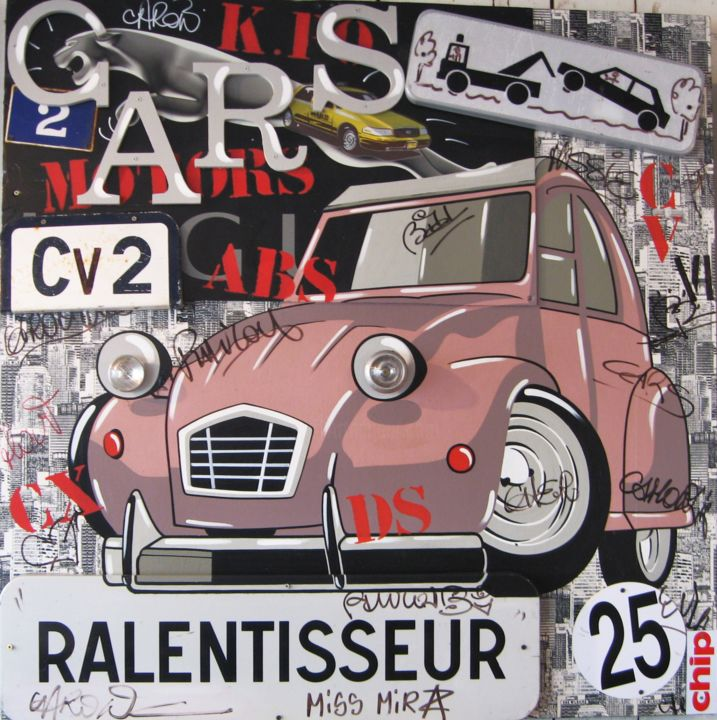 PUTAIN DE 2 CV - Painting,  122x122 cm ©2016 by MISS MIRZA -                                                            Street Art (Urban Art), Wood, Automobile, STREET ART, POP ART, STREET POP ART, 2 CV, MISS MIRZA, ART URBAIN