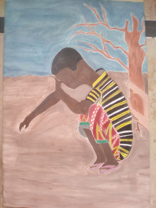 """Painting titled """"Pain of poor person"""" by The K.H Artist, Original Art, Acrylic"""