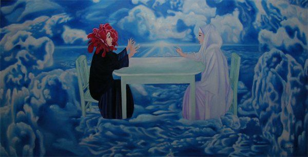 The Conversation - Painting,  100x200 cm ©2010 by Misako Chida -                        Contemporary painting