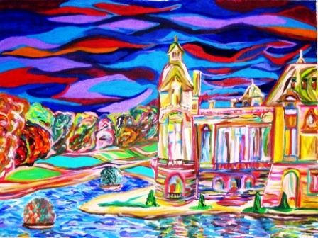 chateau chantilly - Painting,  1x30x40 in, ©2006 by Mark Salevitz -                                                                                                                                                                                                                                                                                                                                                          Figurative, figurative-594, france, chateau, chantilly, water, castle