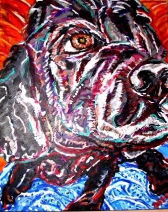 ivana - Painting,  24x1.5x30 in, ©2006 by Mark Salevitz -                                                                                                                                                                                                                                                                                                                                                          Figurative, figurative-594, cocker spaniel, black, dog, ivana, close up