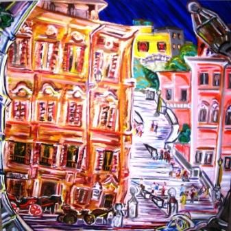 spying the spanish steps - Peinture,  1,5x36x36 in, ©2006 par Mark Salevitz -                                                                                                                                                                                                                                                                                                              Figurative, figurative-594, spanish steps, rome, italy, buildings