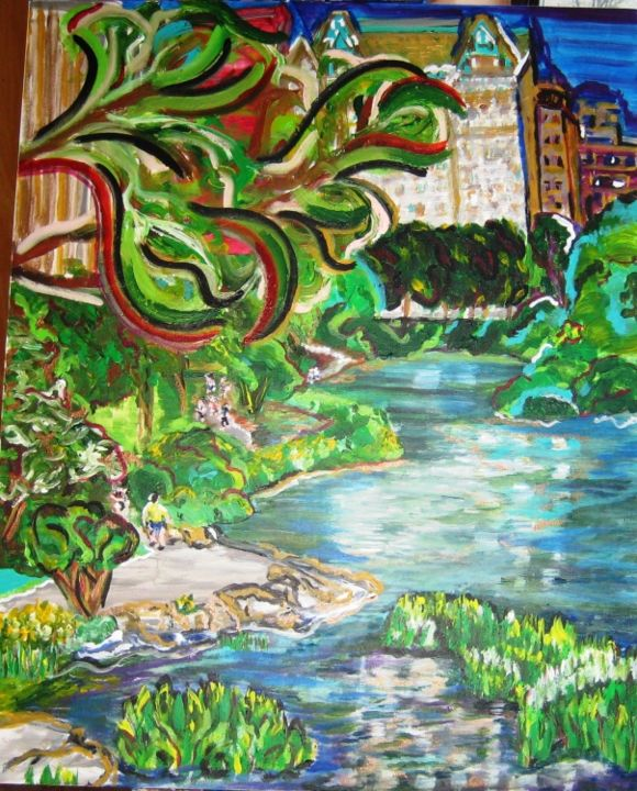 central-park-in-august - Painting,  36x1.5x24 in, ©2011 by Mark Salevitz -                                                                                                                                                                                                                                                                                                                                                          Figurative, figurative-594, manhattan, new York city, city, park, lake