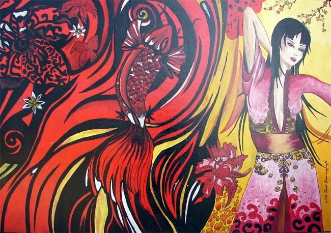 ASIA - Painting,  27.6x39.4 in, ©2011 by missanne -                                                              FEMME ASIATIQUE TRIBAL