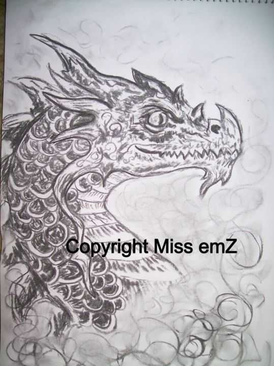 """Drawing titled """"Dragon of the mist"""" by Scream--Qween, Original Art,"""