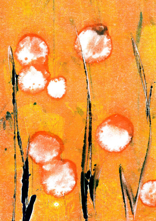 """Printmaking titled """"Abstract Flowers"""" by Melj, Original Art, Monotype"""