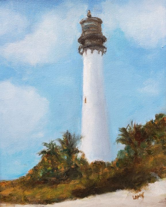 """Painting titled """"Cape Florida Lighth…"""" by Marilyn Lamy, Original Art, Oil"""