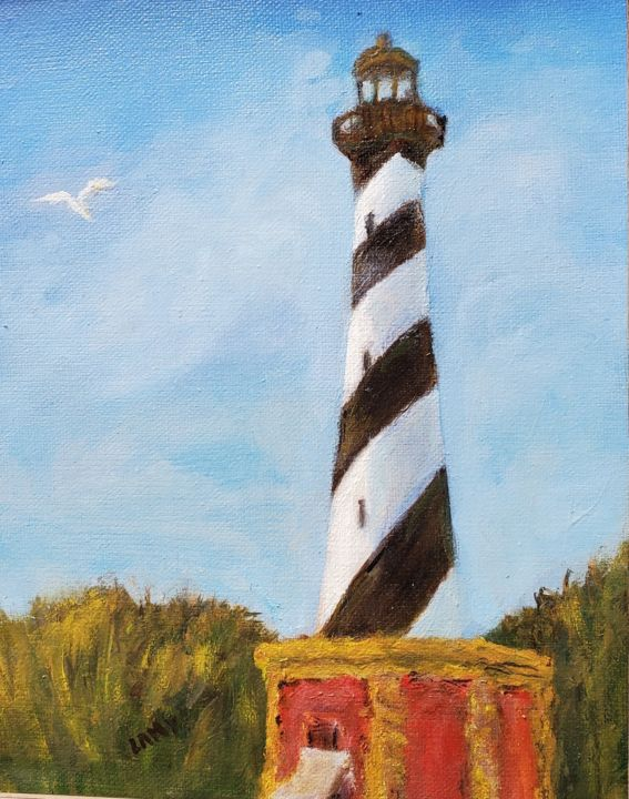 """Painting titled """"Cape Hatteras Light…"""" by Marilyn Lamy, Original Art, Oil"""