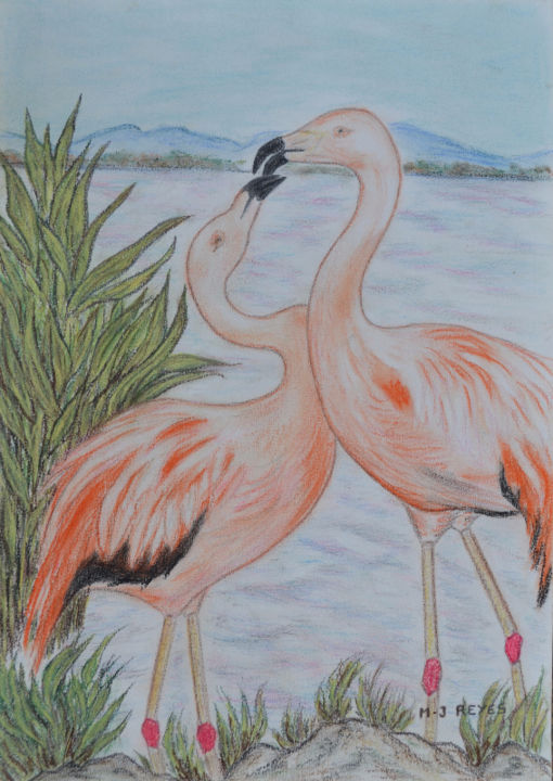 """Flamants roses  """"Parade amoureuse"""" - Painting,  42x29 cm ©2017 by Marie-Josée Reyes -                                                            Figurative Art, Paper, Birds, Flamants roses, parade amoureuse"""
