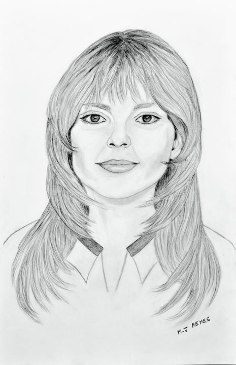 France Gall - Drawing,  46x30 cm ©2018 by Marie-Josée Reyes -                                                            Figurative Art, Paper, Celebrity, France Gall, portrait