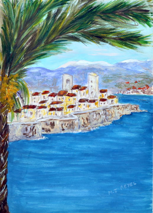 Antibes - Painting,  30x20 cm ©2018 by Marie-Josée Reyes -                                            Figurative Art, Seascape, Antibes, Alpes Maritimes, remparts, Mercantour