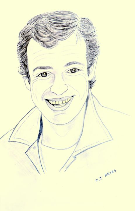 Portrait Jean-Paul Belmondo - Drawing,  4,530x30 cm ©2018 by Marie-Josée Reyes -                                                            Portraiture, Paper, Celebrity, Belmondo, portrait Bebel
