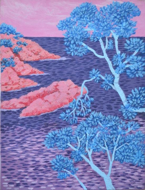 Côte rocheuse - Painting,  13.8x10.6 in, ©2012 by Marie-Josée Reyes -                                                                                                                                                                                                                                                                      Fauvism, fauvism-942, Seascape, Côte rocheuse, fauvisme