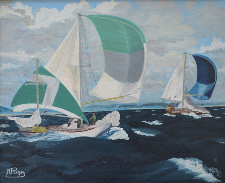 Marine - Painting,  15x18.1 in, ©2012 by Marie-Josée Reyes -                                                                                                                                                                                                                                                                                                                  Impressionism, impressionism-603, Sailboat, Régate, spi, voiliers