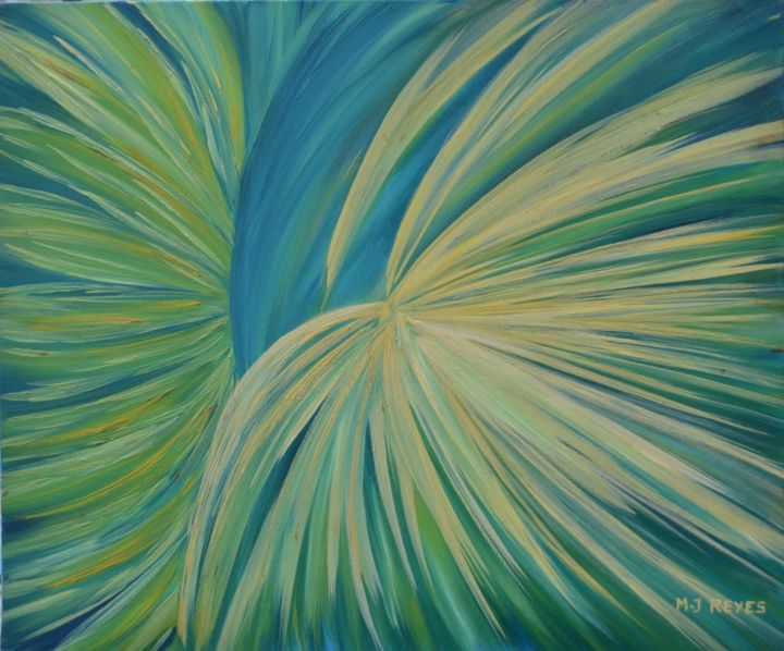 Couleurs d'espoir - Painting,  46x38 cm ©2014 by Marie-Josée Reyes -                                                            Abstract Art, Canvas, Abstract Art, Espoir, couleurs, bleu, vert