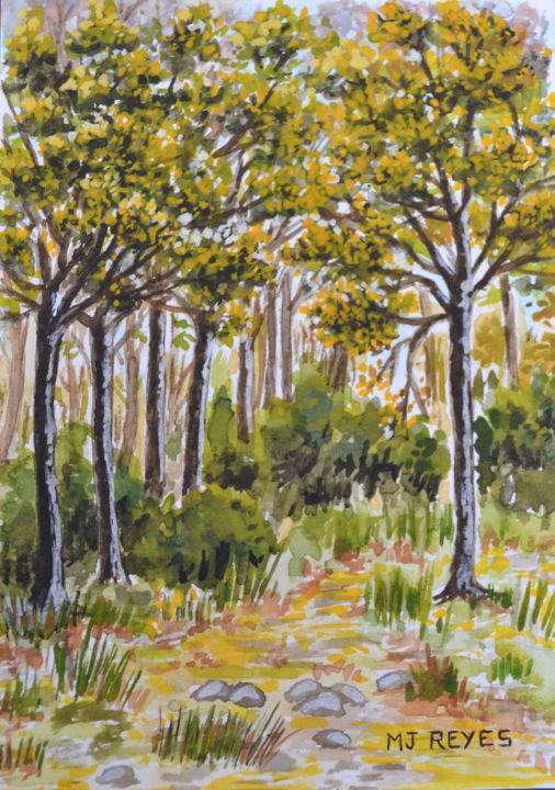 Sous-bois - Painting,  5.9x3.9 in, ©2014 by Marie-Josée Reyes -                                                                                                                                                                                                                                                                      Impressionism, impressionism-603, Nature, sous-bois, forêt