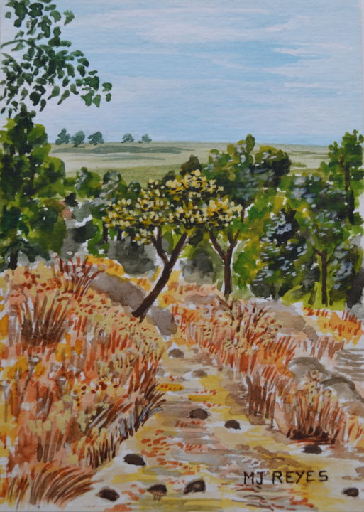 Balade en campagne - Painting,  5.5x3.9 in, ©2014 by Marie-Josée Reyes -                                                                                                                                                                                                                                                                      Impressionism, impressionism-603, Nature, campagne, balade