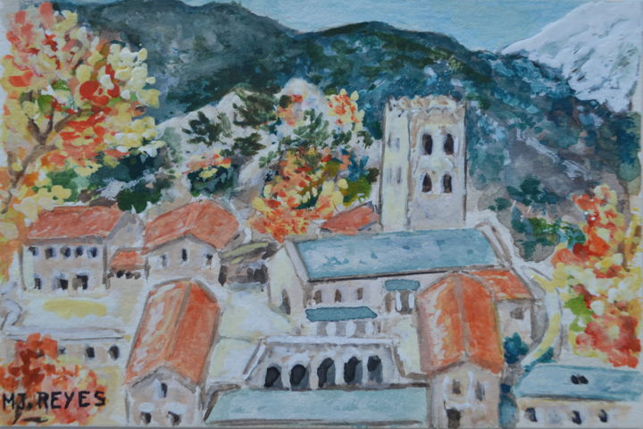 abbaye de saint martin du canigou aquarelles gouaches. Black Bedroom Furniture Sets. Home Design Ideas