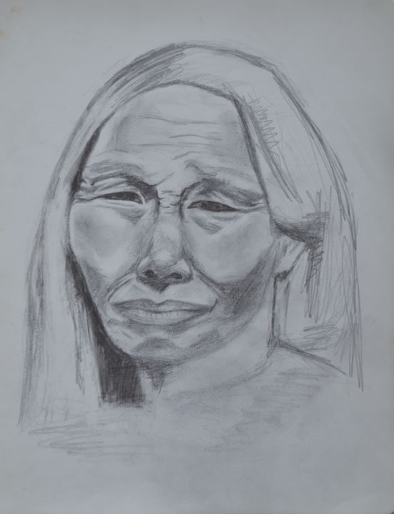 La vieille Indienne - Drawing,  13x10.2 in, ©2015 by Marie-Josée Reyes -                                                                                                                                                                                                                                                                      Figurative, figurative-594, Portraits, Vieille indienne, portrait