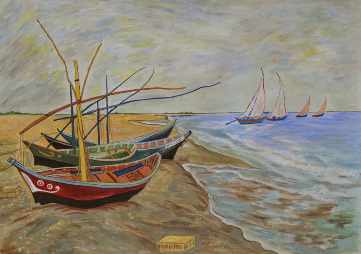 barques aux saintes maries de la mer copie d 39 apr s l 39 oeuvre de van gogh aquarelles gouaches. Black Bedroom Furniture Sets. Home Design Ideas