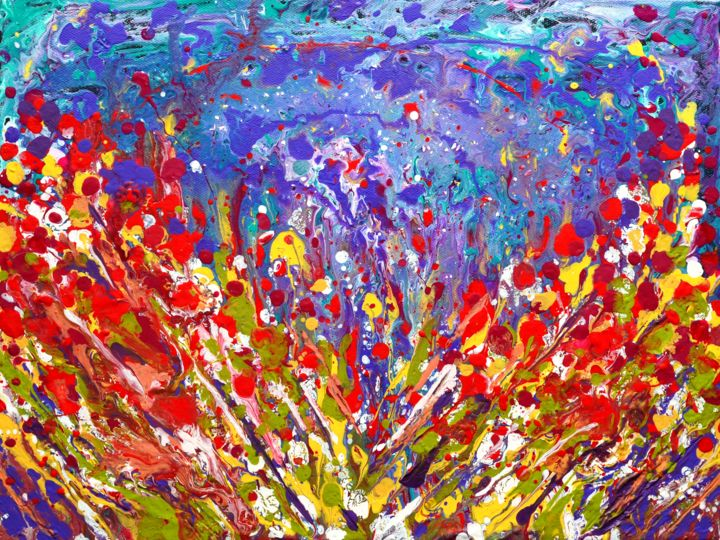 Abstract Meadow colorful painting on canvas - Painting,  12x16x1 in, ©2017 by Artbymanjiri -                                                                                                                                                                                                                                                                                                                                                                                                                                                                                                                                                                                                                                                                                                                                                                                                                                                                                                              Abstract, abstract-570, Abstract Art, Farm, Flower, Garden, Landscape, abstractart, meadow, flowers, floralpainting, red, yellow, blue, purple, canvasart, homedecor, giftart, colorful