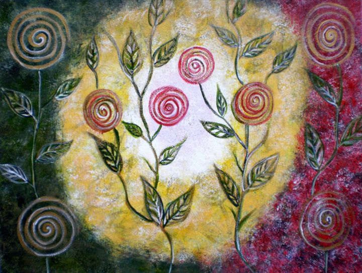 Lollipop Flowers-Original painting - Painting,  18x24x24 in, ©2014 by Artbymanjiri -                                                                                                                                                                                                                                                                                                                                                                                                                                                                                                                                                                                                                                  Abstract, abstract-570, lollipop, flowers, abstract, landscape, pink, green, yellow, texture, circles, pop, modern