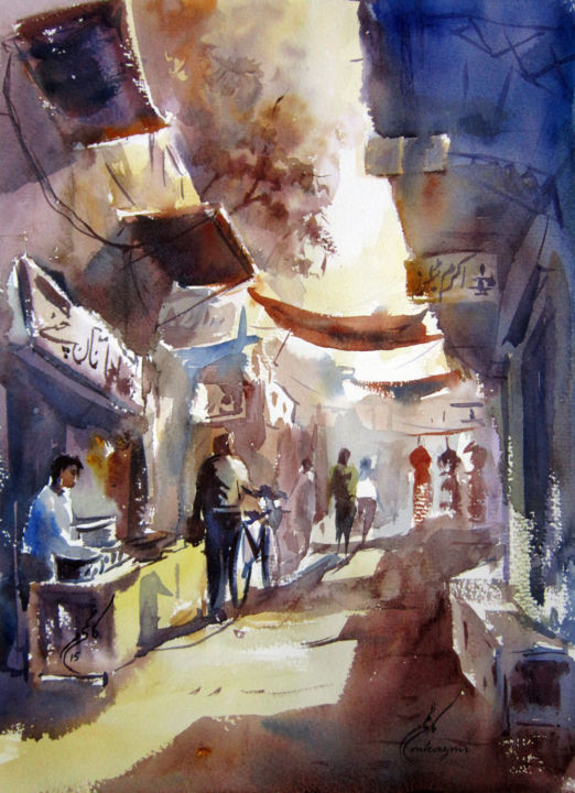 """Painting titled """"Old Lahore"""" by M Kazmi, Original Art, Watercolor"""