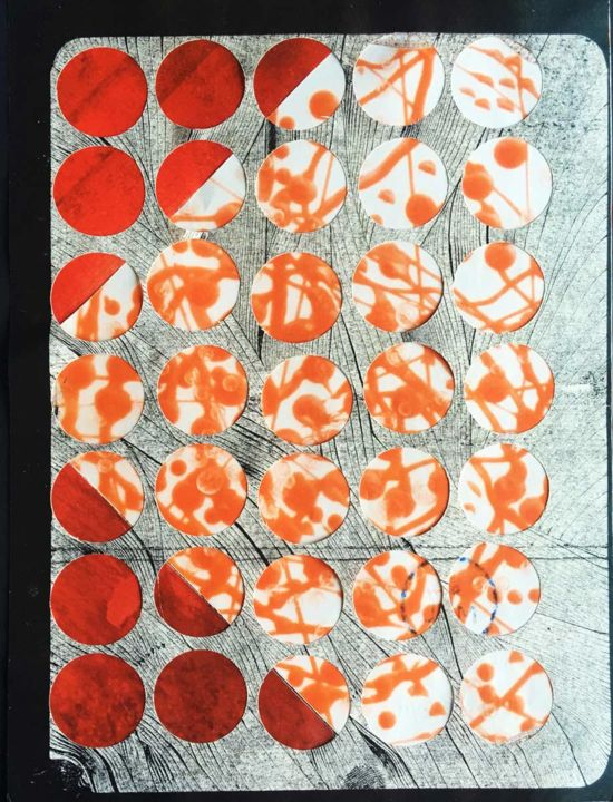 Dots 6 - Collages,  8.5x6.3 in, ©2019 by MKL Marika Lardé -