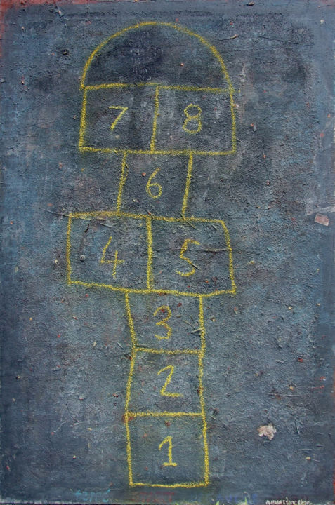 hopscotch - Painting,  59.1x39.4x1.6 in, ©2010 by Mladen Lazarević -                                                                                                                                                                                                                                                                  Abstract, abstract-570, Kids, Pop Culture / celebrity, Sports