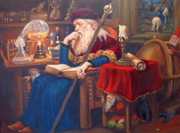 The old alchemist Painting by Lorange | Artmajeur