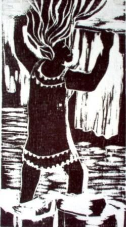 Lavadeira - Printmaking,  18x10 cm ©2005 by Maria Lucia Pacheco -                                                            Expressionism, Paper, Women, woodcuts, linocuts, xilogravura, linóleogravura, metal, litografia, lithography, Maria Lucia Pacheco, Brasil, Curitiba, expressionism, expressionismo, narureza, flowers, seascapes, landscapes, gravadores