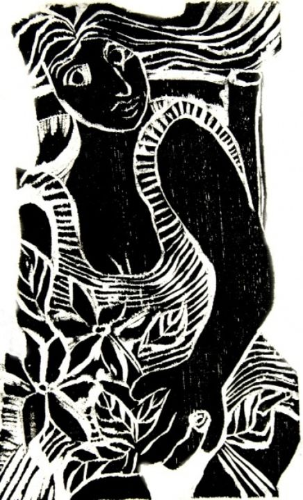 Mulher com anel - Printmaking,  33x19 cm ©2005 by Maria Lucia Pacheco -                                                            Expressionism, Paper, Women, woodcuts, linocuts, xilogravura, linóleogravura, metal, litografia, lithography, Maria Lucia Pacheco, Brasil, Curitiba, expressionism, expressionismo, narureza, flowers, seascapes, landscapes, gravadores