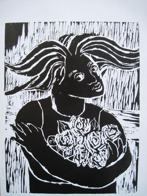 Menina com rosas - Printmaking,  50x40 cm ©2010 by Maria Lucia Pacheco -                                                            Expressionism, Paper, Women, woodcuts, linocuts, xilogravura, linóleogravura, metal, litografia, lithography, Maria Lucia Pacheco, Brasil, Curitiba, expressionism, expressionismo, narureza, flowers, seascapes, landscapes, gravadores