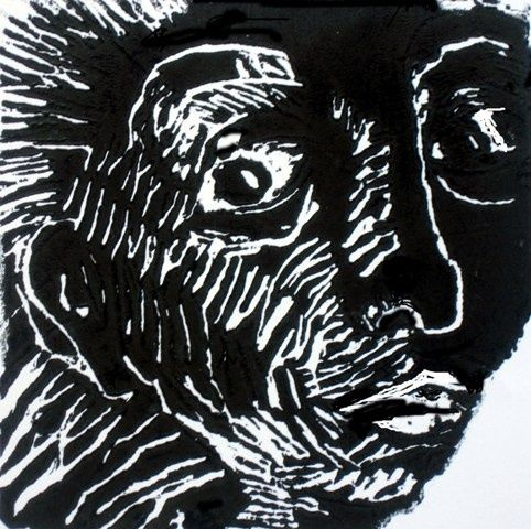 Figura 2 - Printmaking,  10x10 cm ©2011 by Maria Lucia Pacheco -                                            Expressionism, Paper, engravings, woodcuts, linocuts, xilogravura, linóleogravura, metal, litografia, lithography, Maria Lucia Pacheco, Brasil, Curitiba, expressionism, expressionismo, narureza, flowers, seascapes, landscapes, gravadores