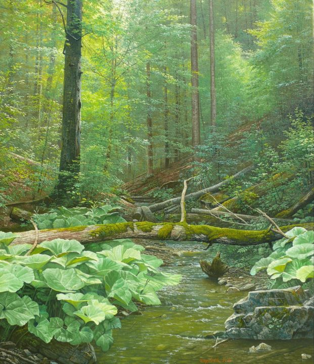 Silent forest / Forêt silencieuse - Painting,  27.6x23.6x0.4 in, ©2015 by Emil Mlynarcik -                                                                                                                                                                                                                                                                                                                                                                                                                                                                                                                                                                                                                                                                                                                                                                                                                                                                                                                                                                                                      Classicism, classicism-933, Botanic, Flower, Landscape, Love / Romance, Nature, emil mlynarcik, vamosiart, peter vamosi vamosiart, www.vamosiart.com, forest, forestscape, romantic, romantic forest, green, stream, creek, mountain stream, harmony, harmonious