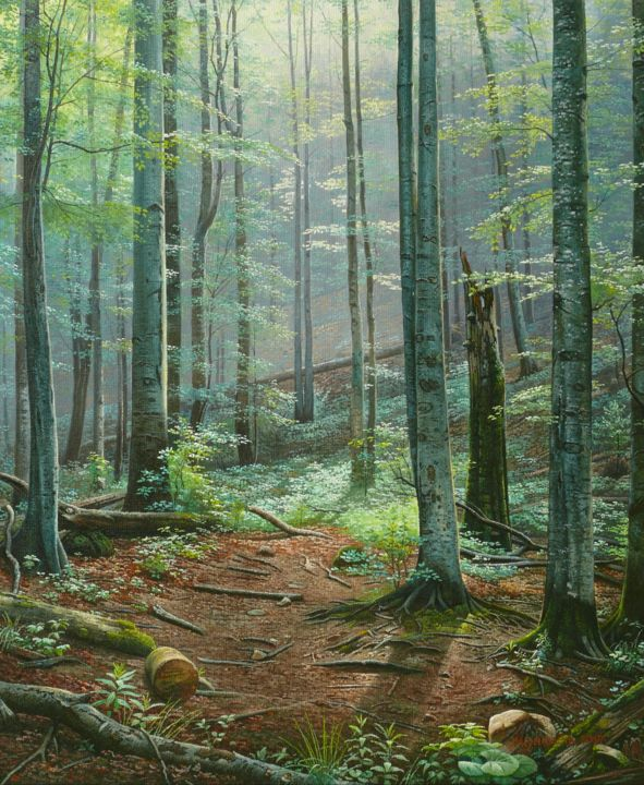 Deep forest / Forêt profonde - Painting,  60x50x2 cm ©2019 by Emil Mlynarcik (SK) -                                                                                                                    Contemporary painting, Photorealism, Realism, Landscape, Light, Love / Romance, Nature, Tree, emil mlynarcik, vamosiart, peter vamosi vamosiart, forest, forestscape, forest painting