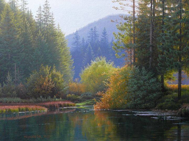 """Painting titled """"Afternoon by the po…"""" by Emil Mlynarcik, Original Art, Oil"""