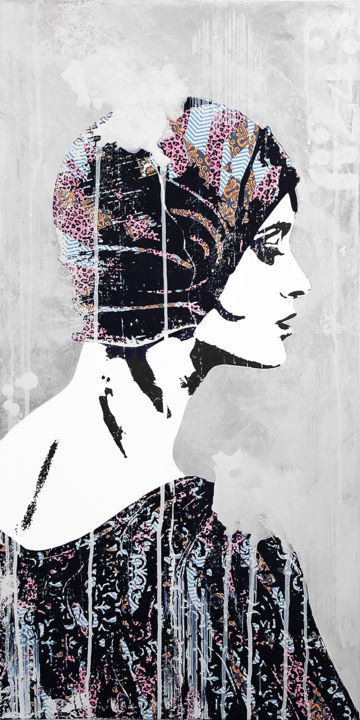 """Painting titled """"Woman in Cloche"""" by Modesty L'Artist, Original Art, Acrylic"""