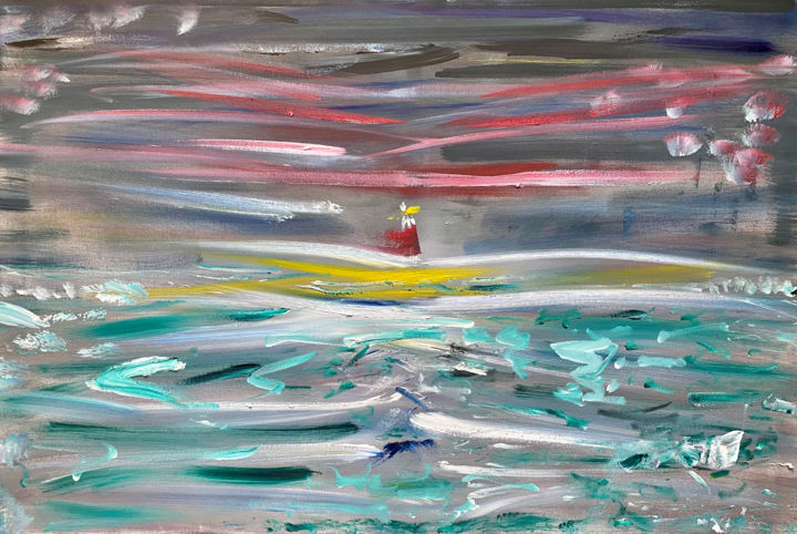"""Painting titled """"The Lighthouse"""" by Michael Vitali, Original Art, Oil"""