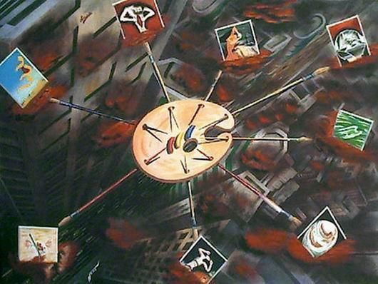 """Painting titled """"Save Our Souls!"""" by Mushtaq Noor, Original Art, Oil"""
