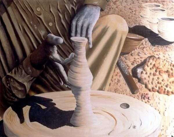 """Painting titled """"The Potter's Wheel"""" by Mushtaq Noor, Original Art,"""