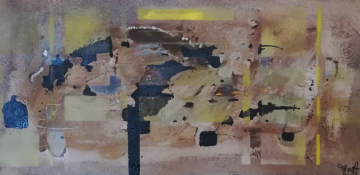 Dédales - Painting,  15.8x31.5 in, ©2019 by Marie-Odile ALBA -                                                                                                                                                                                                                                                                                                              Abstract, abstract-570, dédale, labyrinthe, terre, infinie