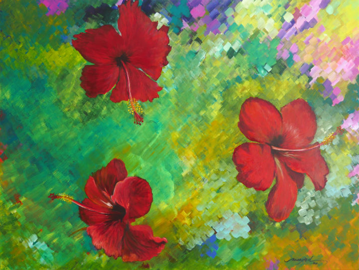"""Painting titled """"The Flowers of Eden"""" by Moayed Shlemon, Original Art, Acrylic"""